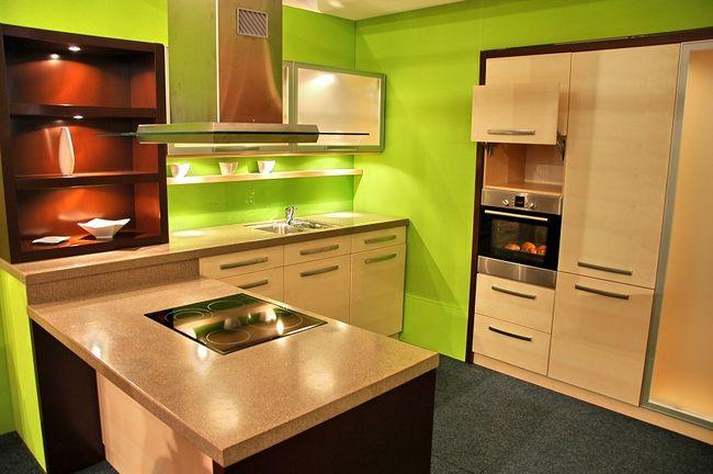 Kuchnia pomalowana na zielono