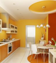 Kuchnia pomalowana na pomarańczowo
