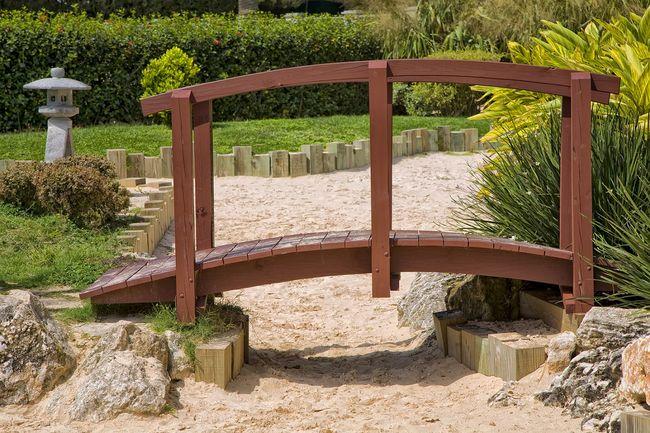 Mostek drewniany w ogrodzie japońskim