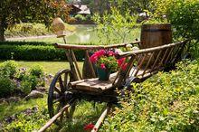 Wóz drewniany w ogrodzie