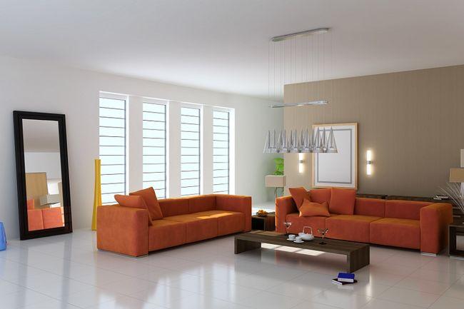 Salon z płytkami podłogowymi.