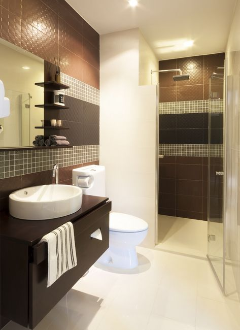 Wąska łazienka - wystrój