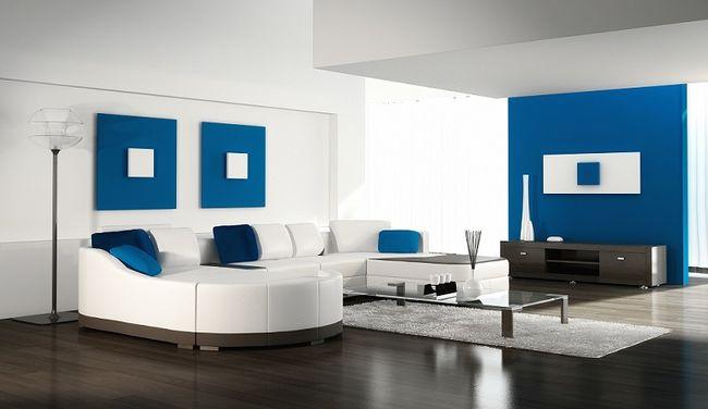 Aranżacja salonu w kolorze białym i niebieskim