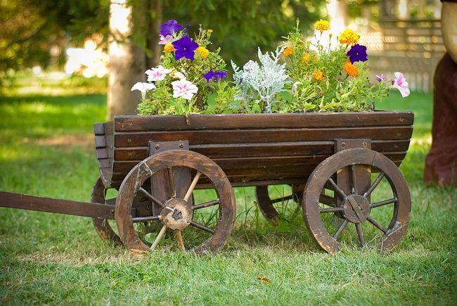 Drewniany wózek pełniący funkcję donicy