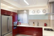 Kuchnia nowoczesna w kolorze czerwonym i białym