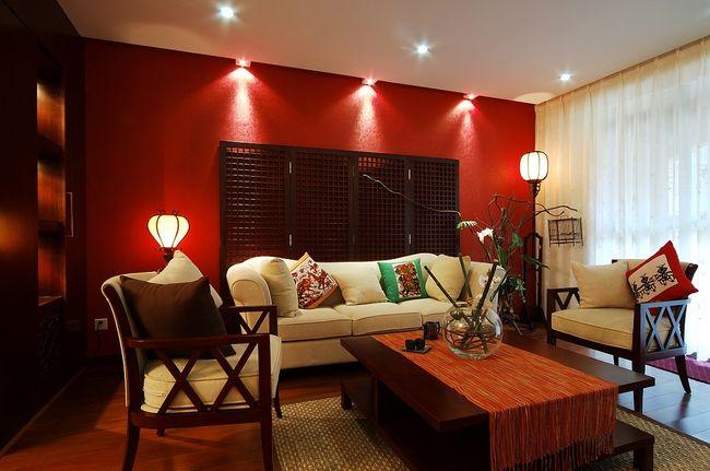 Jakie o wietlenie salonu galeria i zdj cia - Red walls in living room ...