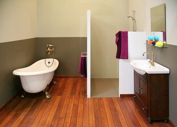 Pod oga drewniana w azience for Plancher flottant pour salle de bain